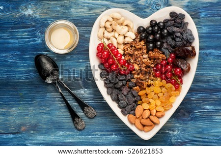 Granola, fresh berries and nuts. healthy breakfast