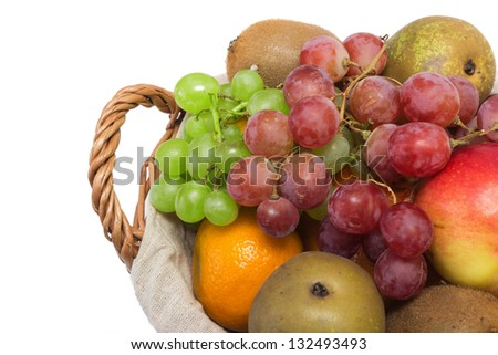 Grapes, pears and other fruits in the basket