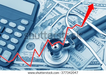 Graph showing the high cost of health care with USD bank notes a stethoscope and calculator