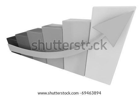 graph with arrow in black and white isolated on white background
