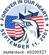 graphic design illustration of 9/11 memorial showing bald eagle with american flag  and world trade center twin tower building in the background with date September 11, 2001 - stock photo
