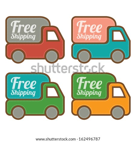 Graphic For Promotional Sale or Marketing Campaign Present By Colorful Vintage Style Free Shipping With Lorry or Truck Sign Isolated on White Background