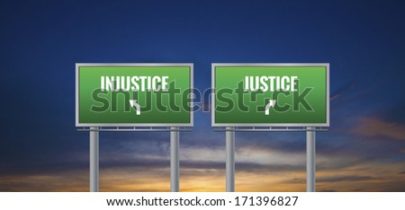 Graphic of a green justice and injustice sign on sunset background ...