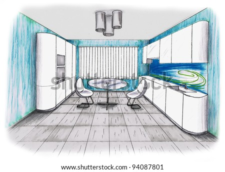 Graphic sketch an kitchen