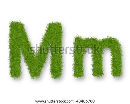 Grass lower-case and upper-case letter M