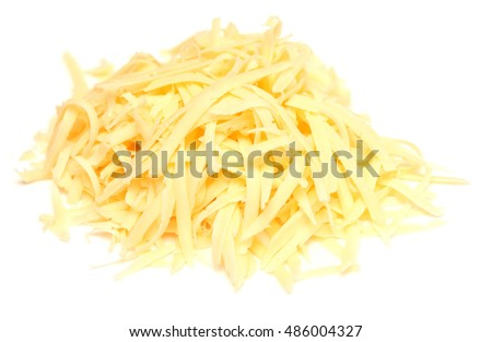 grated cheese isolated on white background