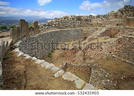 Grave circle in Mycenae acropolis