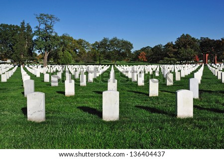 Gravestones at Arlington National Cemetery in Arlington, Virginia, USA.