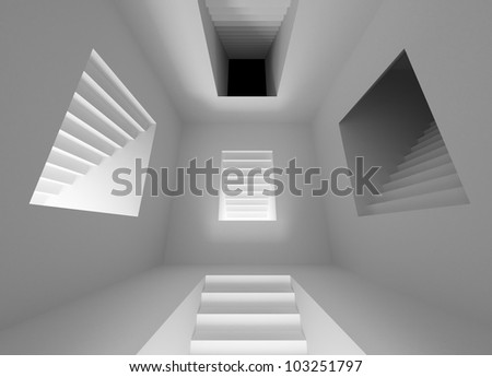 Gray abstract architecture interior with lighting stairway portals