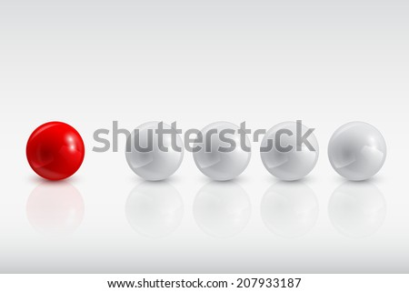 gray balls and the red one