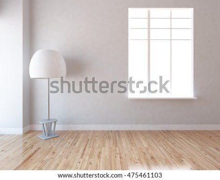 gray empty interior with a lamp 3d illustration