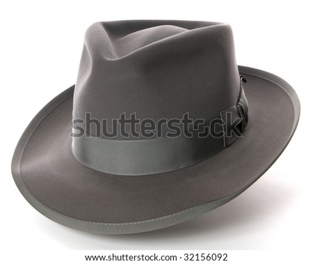 Gray fedora hat on white background