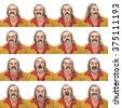 gray long hair and mustache vintage 70s caucasian dancer man collection set of face expression like happy, sad, angry, surprise, yawn isolated on white - stock photo