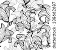 Gray monochrome floral seamless pattern - raster version - stock photo