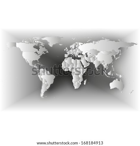 Gray Political World Map illustration