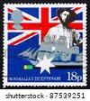 GREAT BRITAIN - CIRCA 1988: a stamp printed in the Great Britain shows Australian colonist, first fleet vessel, Australia bicentennial, circa 1988 - stock photo