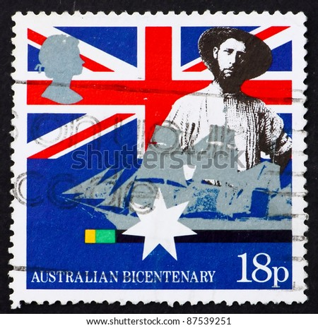 GREAT BRITAIN - CIRCA 1988: a stamp printed in the Great Britain shows Australian colonist, first fleet vessel, Australia bicentennial, circa 1988