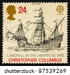 GREAT BRITAIN - CIRCA 1992: a stamp printed in the Great Britain shows Sailing ship, 500th anniversary of discovery of America, circa 1992 - stock photo