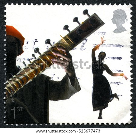GREAT BRITAIN - CIRCA 2006: A used postage stamp from the UK, part of a series commemorating the Sounds of Britain - featuring an Asian Sitar instrument, circa 2006.