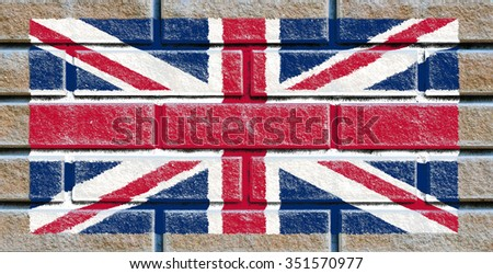 Great Britain flag painted on old brick wall texture background