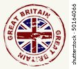 Great britain grunge ink rubber stamp with union flag - stock vector