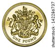 Great Britain One Pound Coin Isolated on White With Clipping Path - stock photo