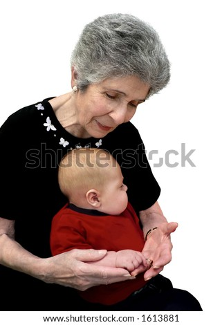 Great-grandmother comparing her hands with her great-grandchild's.