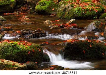 Great National Park Autumn time River waterfall horizontal