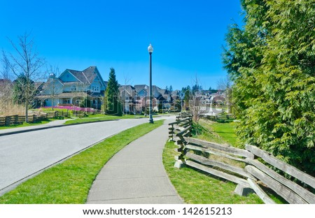 Great neighborhood. Row of the houses, homes with the ...