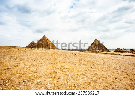 Great Pyramids at the Giza Necropolis, Giza Plateau, Egypt. UNESCO World Heritage