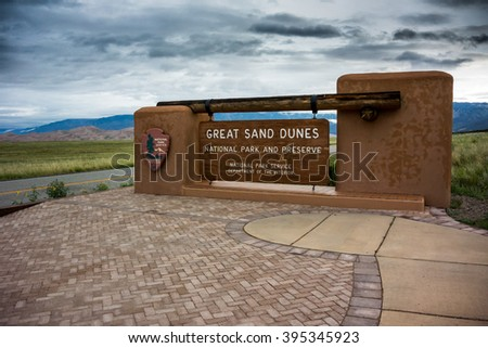 Great Sand Dunes National Park, United States: July 5th, 2015: Entrance to the Great Sand Dunes National Park and Preserve