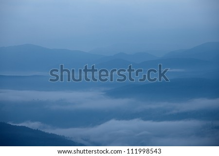 Great Smoky Mountains foggy silhouette, North Carolina, USA
