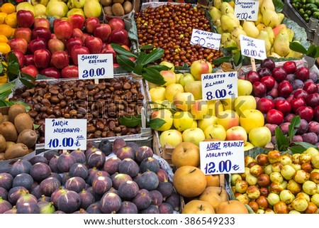 Great variety of fruits at a market in Istanbul, Turkey