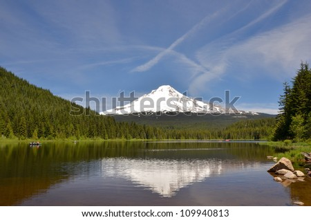 Great View of Mount Hood Reflecting in Trillium Lake, Oregon