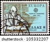 """GREECE - CIRCA 1980: A stamp printed in Greece from the """"Europa"""" issue shows Nobel Prize in Literature winner Giorgos Seferis, circa 1980. - stock photo"""