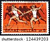 GREECE - CIRCA 1969: a stamp printed in the Greece shows Relay Race and Runners from Amphora, 525 B.C., 9th European Athletic Championships, Athens, circa 1969 - stock photo