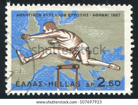 GREECE - CIRCA 1967: stamp printed by Greece, shows Hurdler and map of Europe and near East, circa 1967
