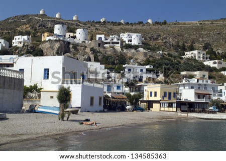 Greece, fishing village Panteli with wind mills on Leros island