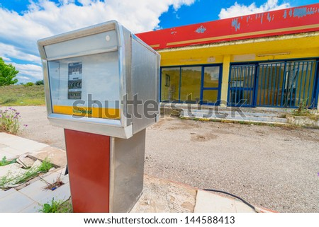 Greece ithaki island abandoned gas station pumps