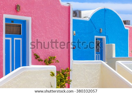 Greece Santorini island in cyclades colorful sights