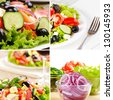 Greek salad on the oak table collage set - stock photo