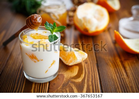 Greek yogurt with honey and oranges
