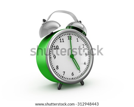 Green alarm clock shows five hours. 3d render isolated on white background