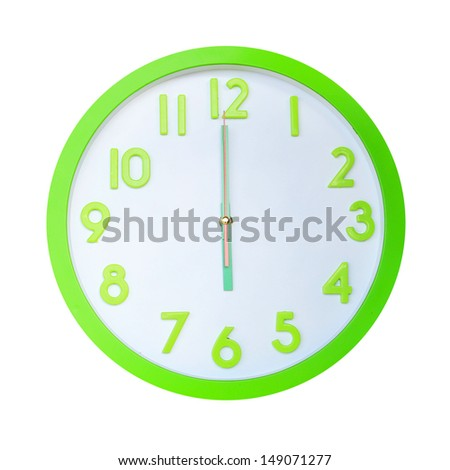 Green alarm round wall clock at six