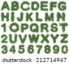 Green alphabet made of trees and leafs. Seasonal summer letters - stock vector