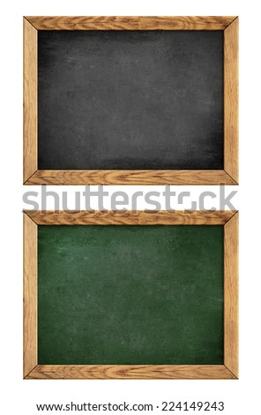 green and black school blackboard or chalkboard with wood frame isolated on white
