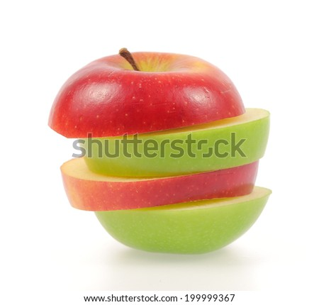 green and red apples. green and red apples isolated on white background