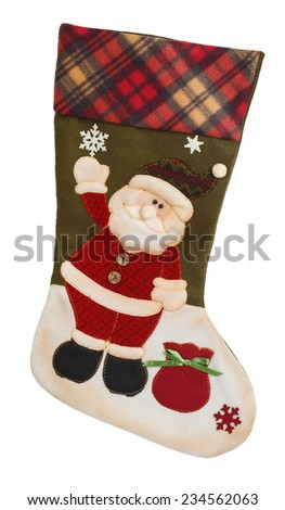 Green and white empty stocking with Santa Claus isolated on white background