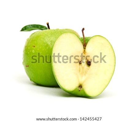 Green apple fruits isolated on white background