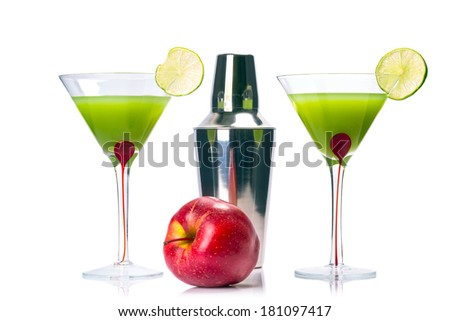 Green Appletini drink isolated over white - stock photo
